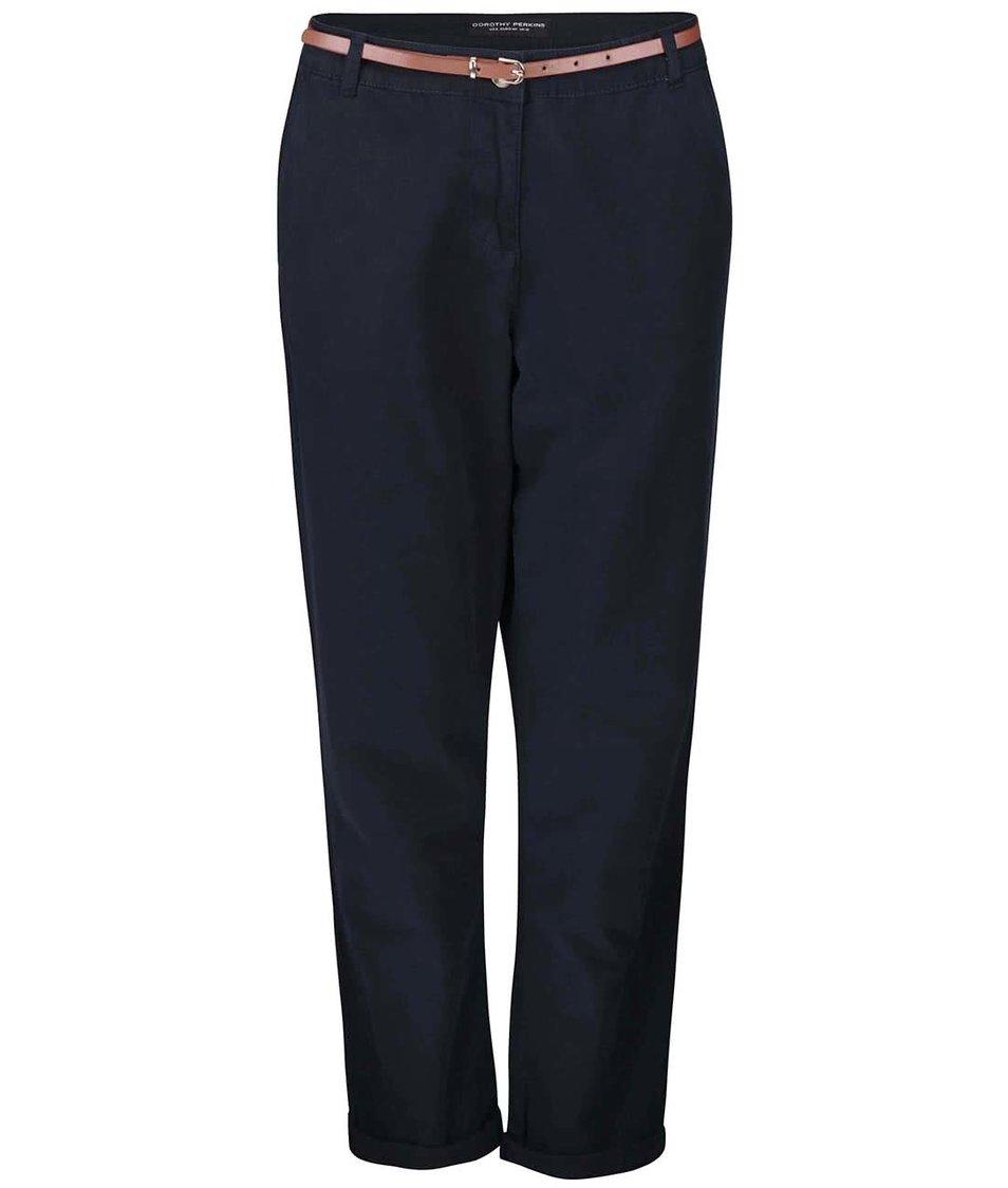 Tmavě modré chino kalhoty s páskem Dorothy Perkins