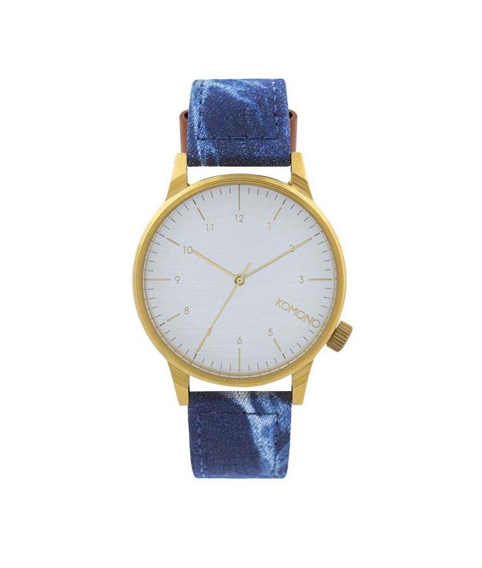 Modré pánské hodinky s denimovým páskem Komono Winston Heritage