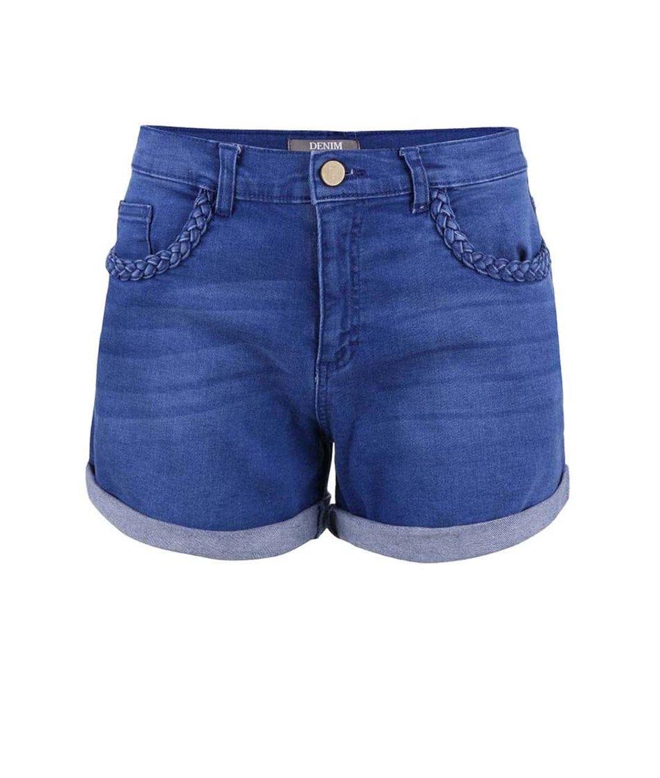 Modré džínové kraťasy s vyšším pasem Dorothy Perkins
