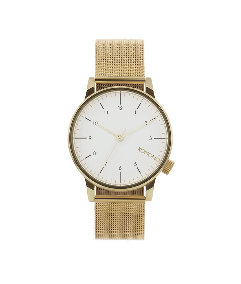 Pánské hodinky ve zlaté barvě s bílým ciferníkem Komono Winston Royale