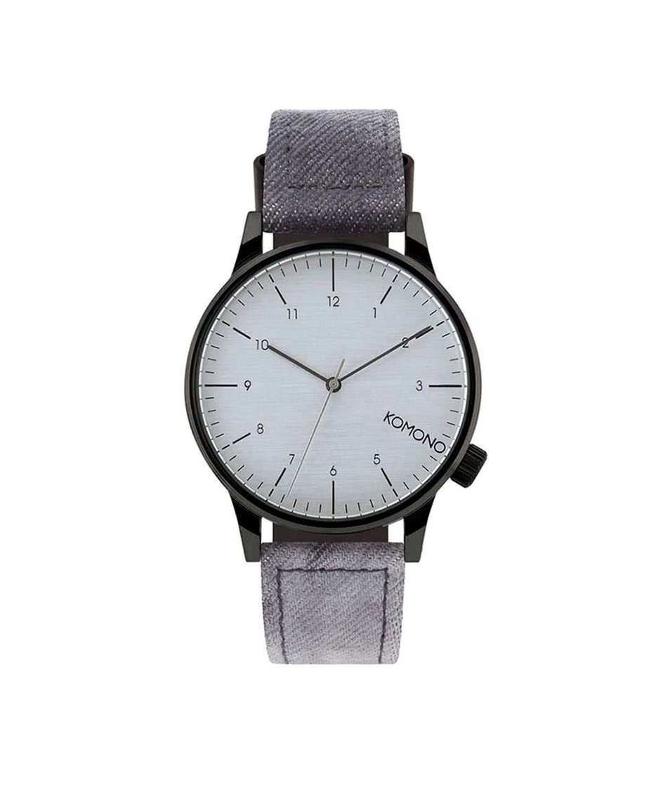 Černé pánské denimové hodinky Komono Winston Heritage