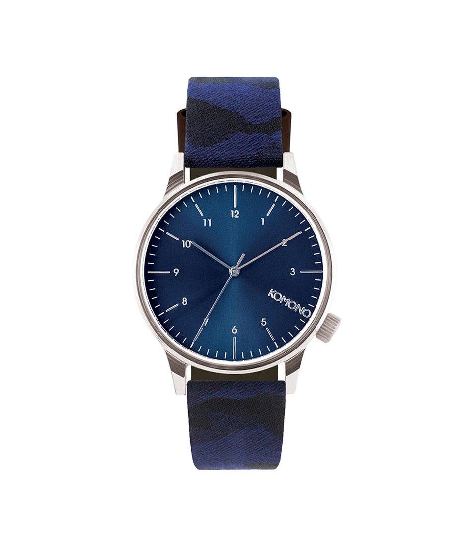 Modré pánské hodinky s camo vzorem Komono Winston Print
