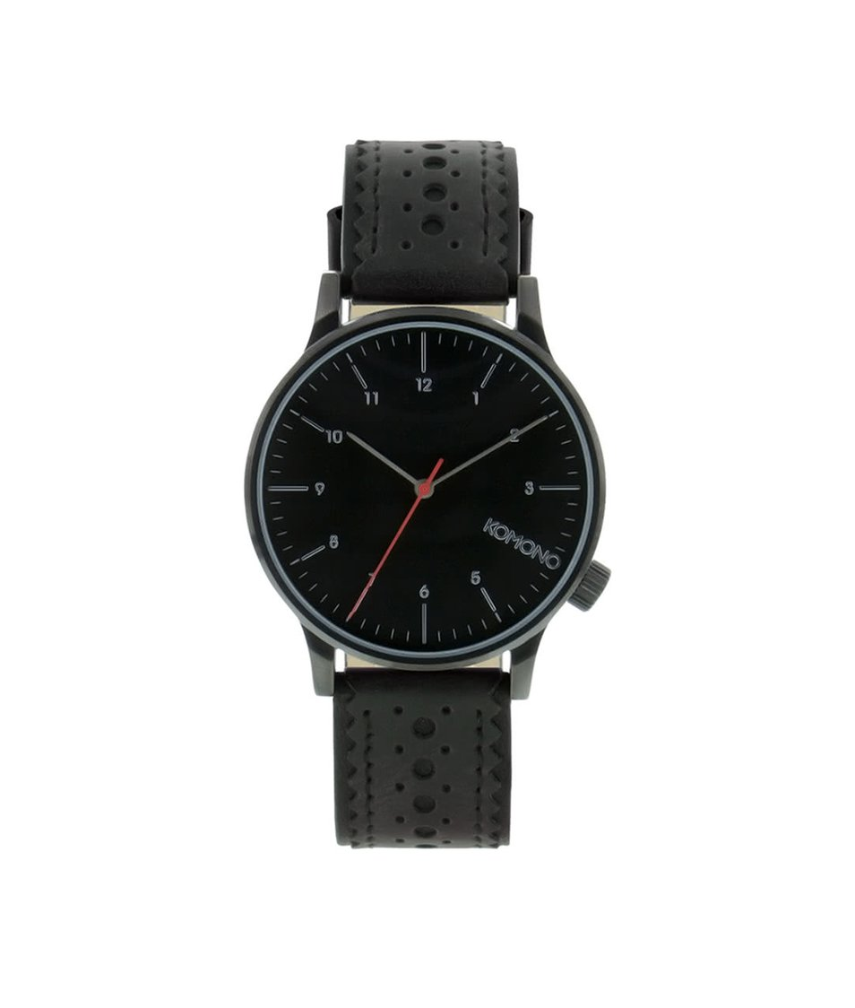 Černé pánské hodinky s koženým páskem Komono Winston Brogue