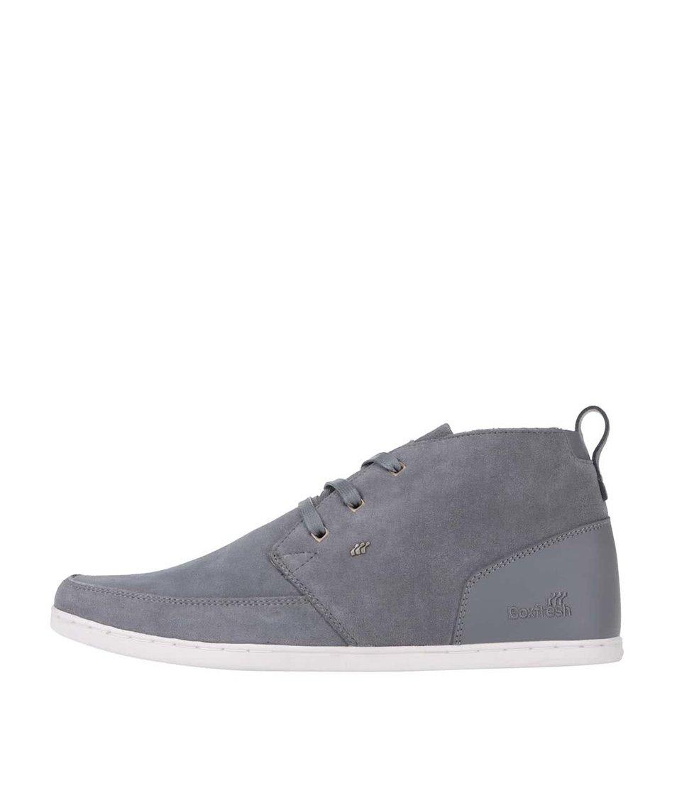 Šedé kožené kotníkové boty Boxfresh Symmons