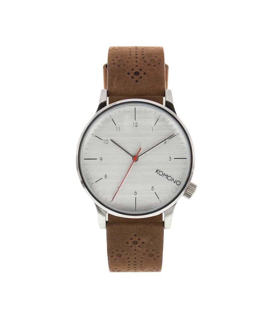 Hnědé pánské hodinky s brogue koženým páskem Komono Winston Brogue