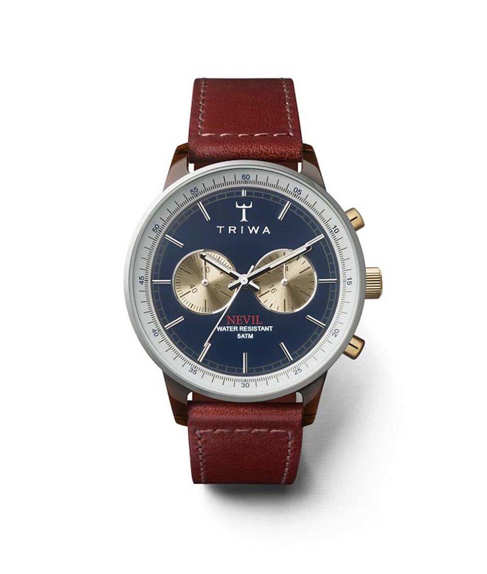 Hnědé kožené unisex hodinky s tmavě modrým ciferníkem TRIWA Duke Nevil