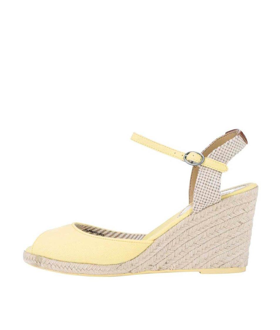 Žluté dámské sandálky na klínku Pepe Jeans