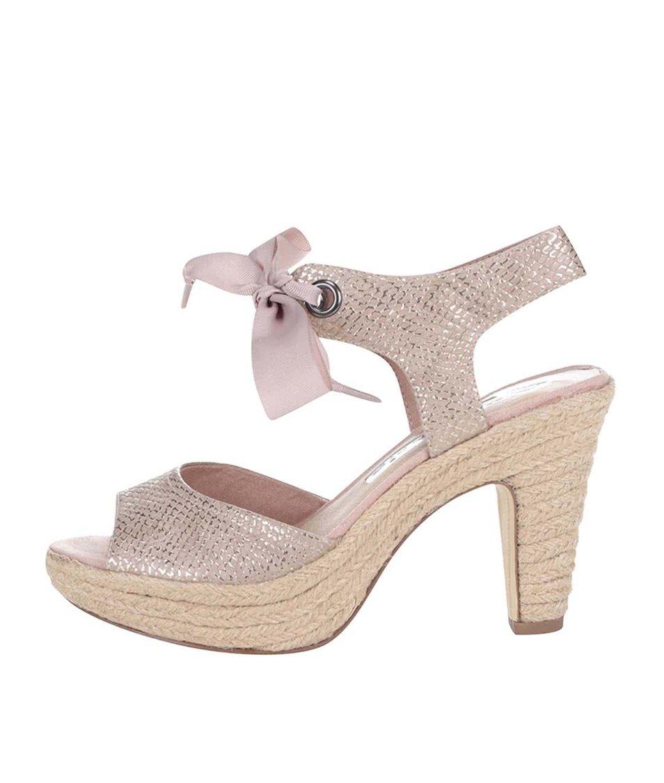 Růžové lesklé boty na podpatku s mašlí Tamaris