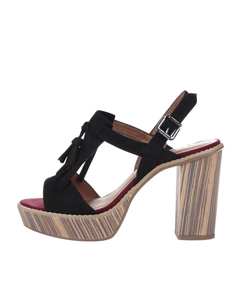 Hnědo-černé boty na podpatku a platformě Tamaris