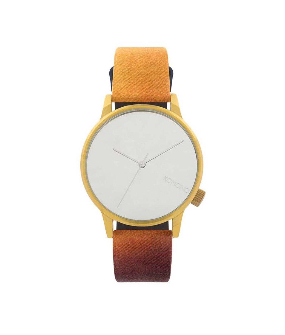 Barevné unisex hodinky s ciferníkem ve zlaté barvě Komono Winston by René Magritte