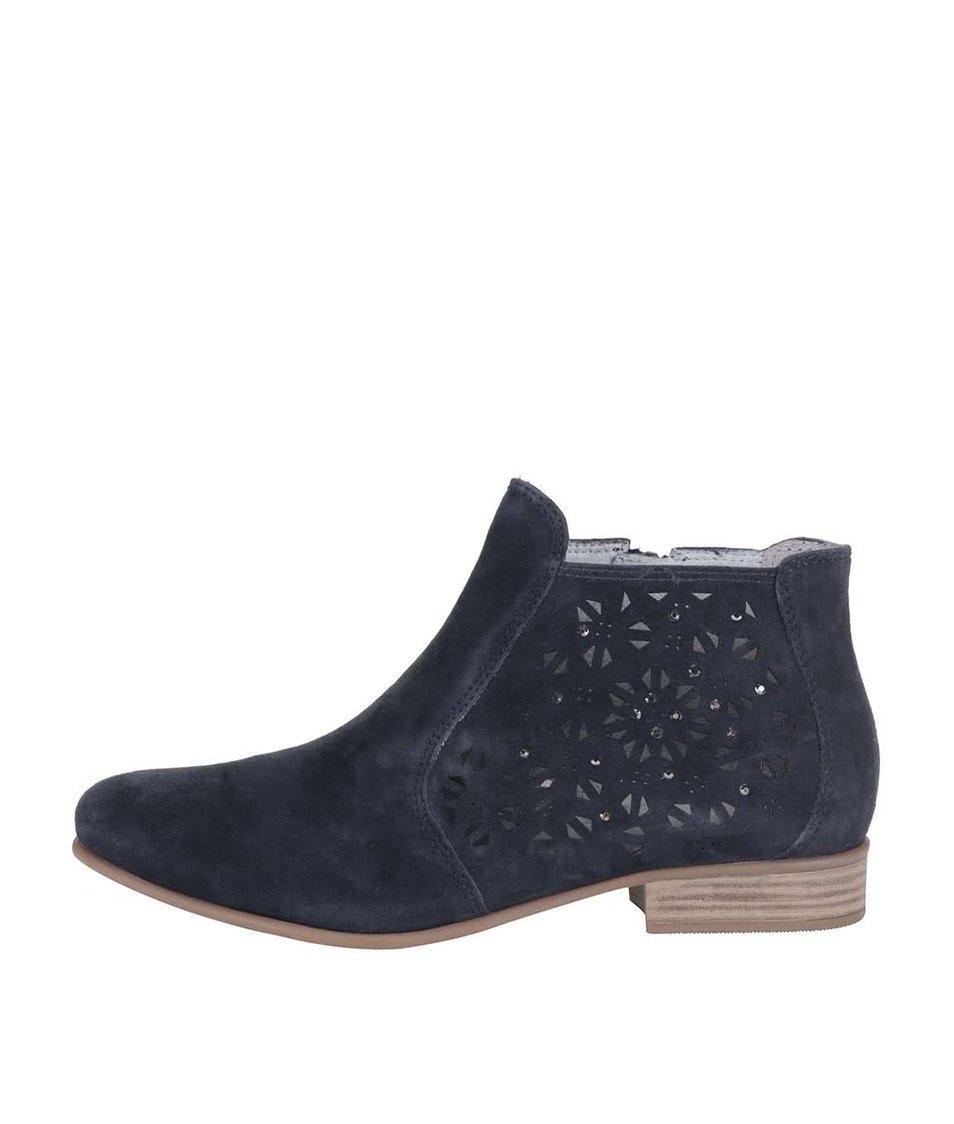 Modré kožené kotníkové boty s perforovaným vzorem Tamaris