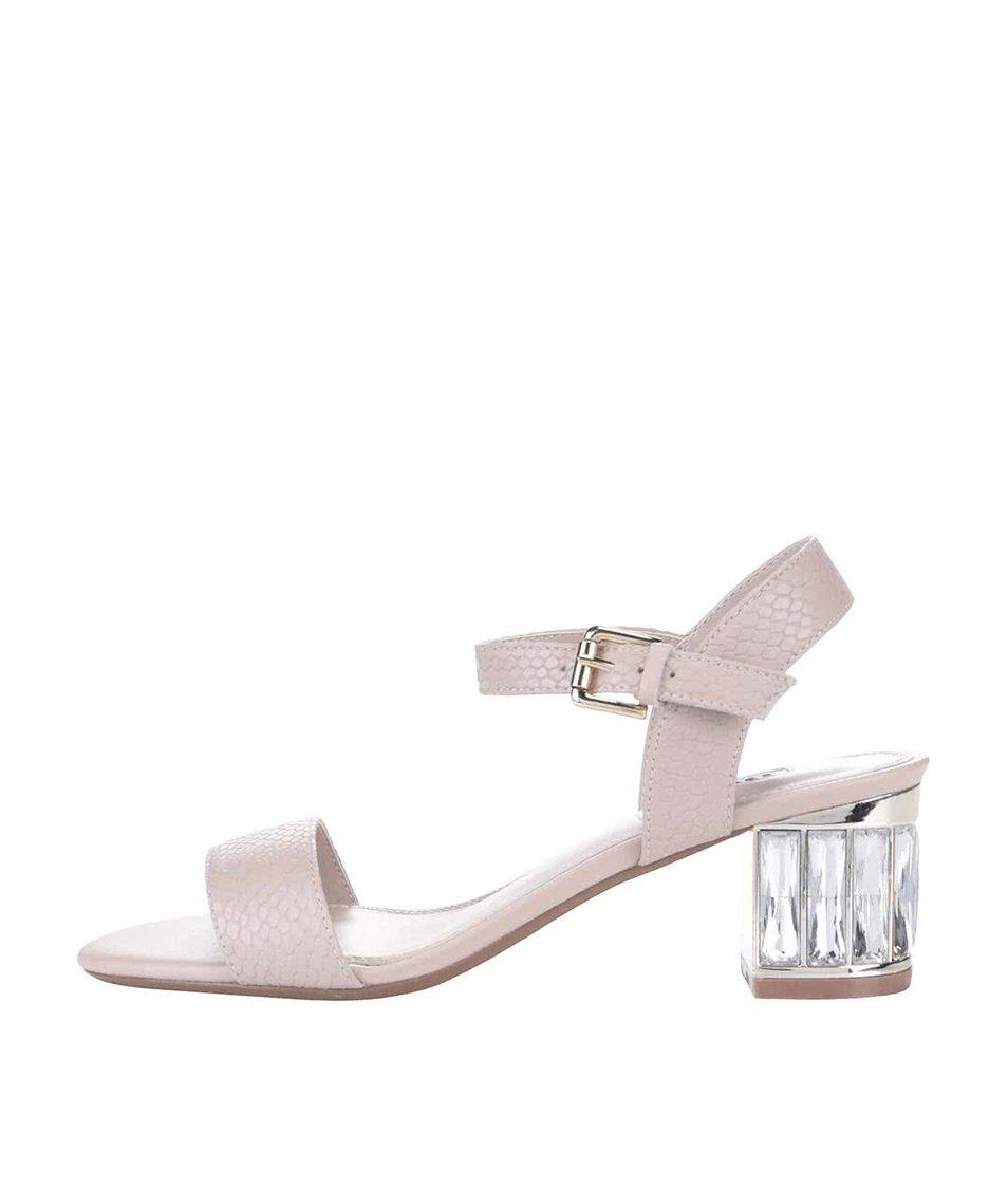 Béžové kožené sandály na podpatku Dune London Marcia