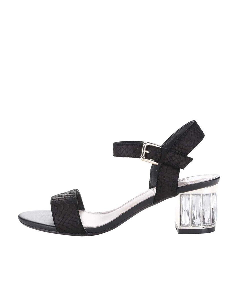 Černé kožené sandály na podpatku Dune London Marcia