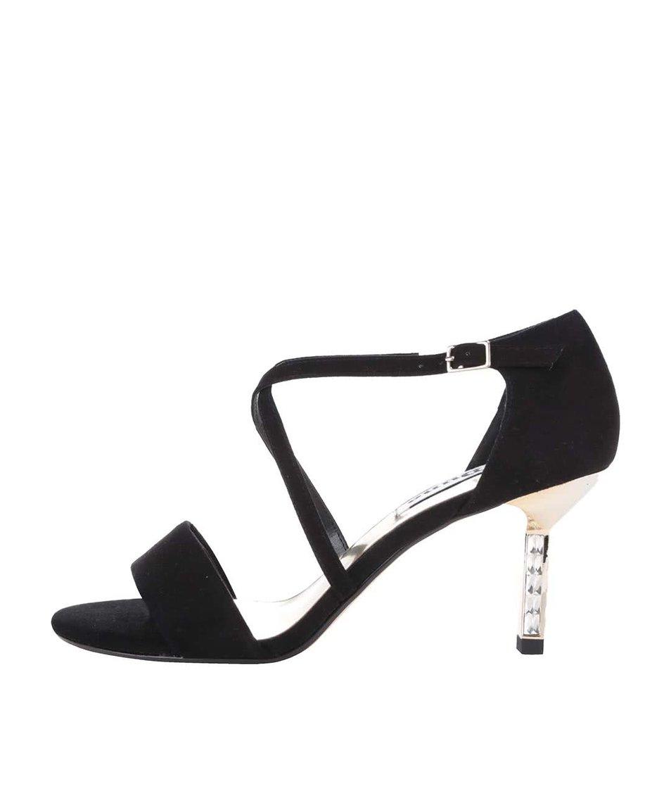 Černé třpytivé kožené sandálky na podpatku Dune London Mindee