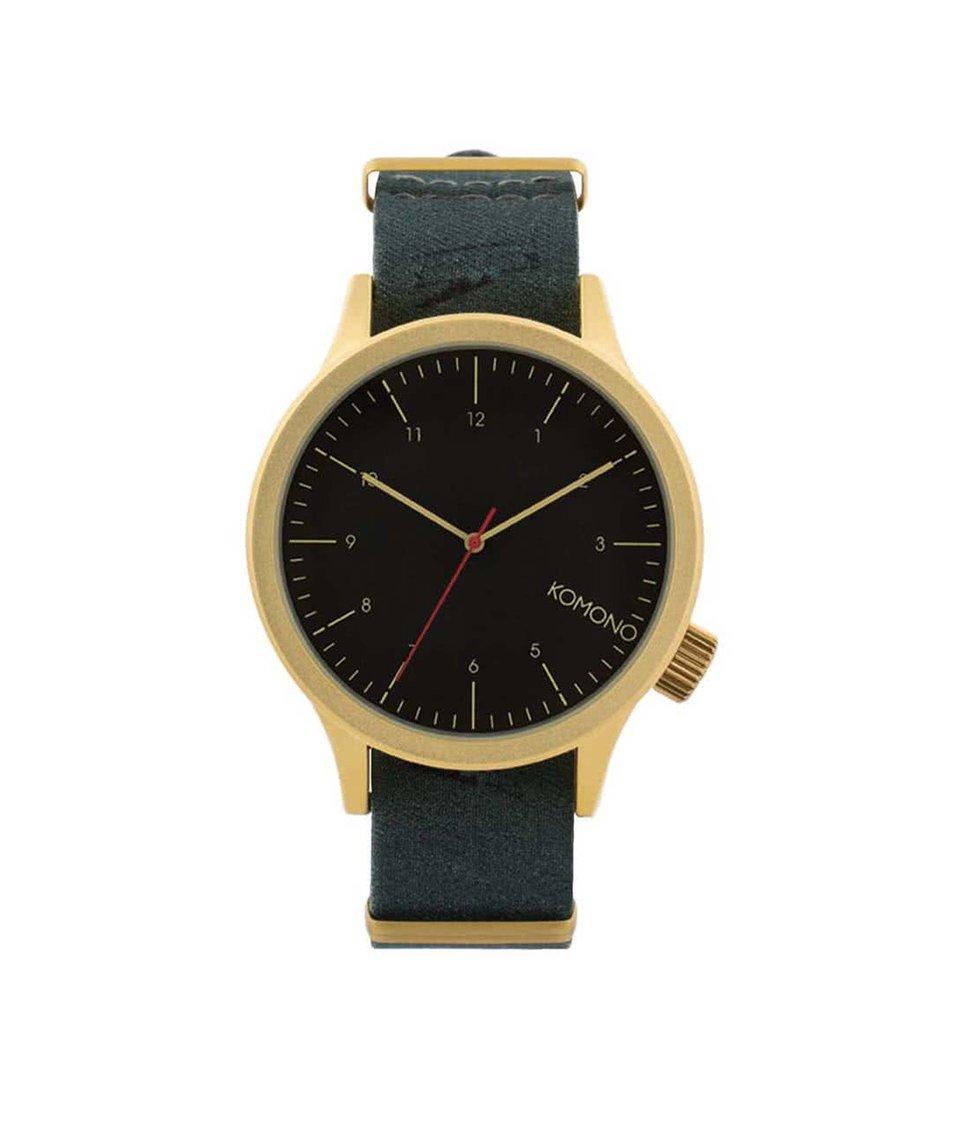 Tmavě zelené pánské hodinky s detaily ve zlaté barvě Komono Magnus