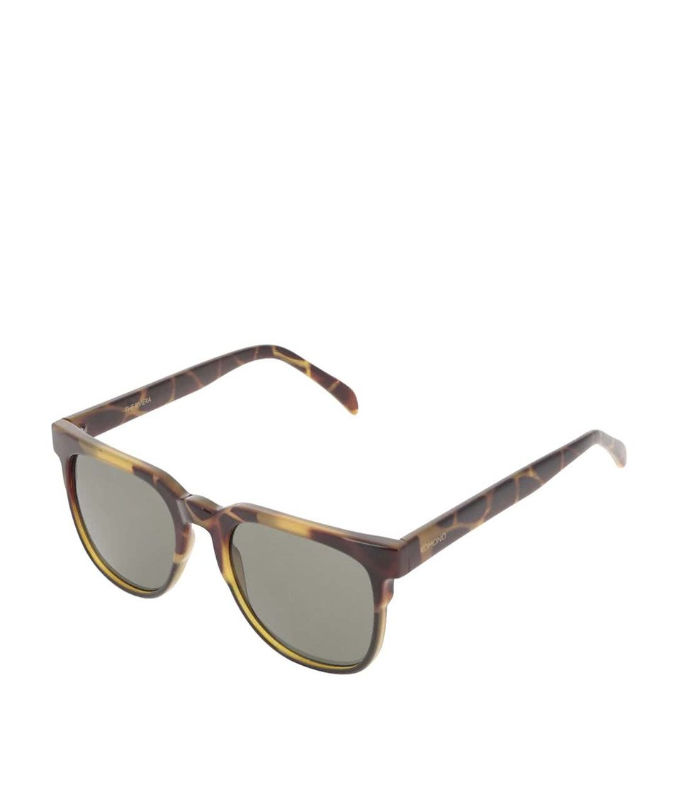 Hnědo-zelené unisex sluneční brýle se vzorem Komono Riviera