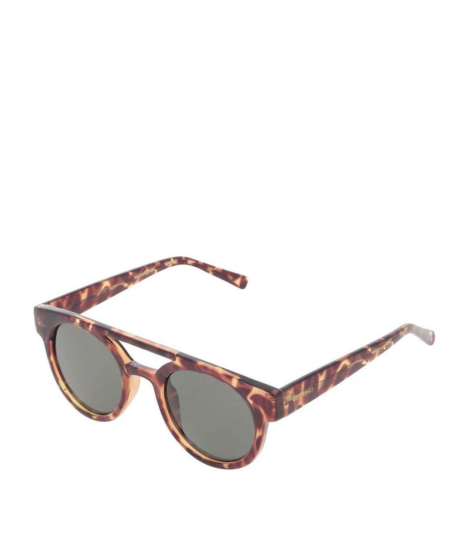 Hnědé želvovinové unisex sluneční brýle Komono Dreyfuss