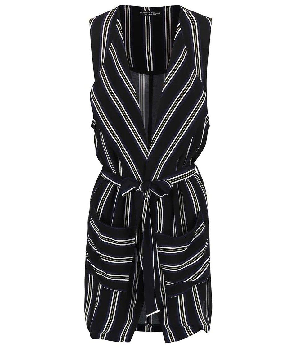 Černá pruhovaná vesta Dorothy Perkins