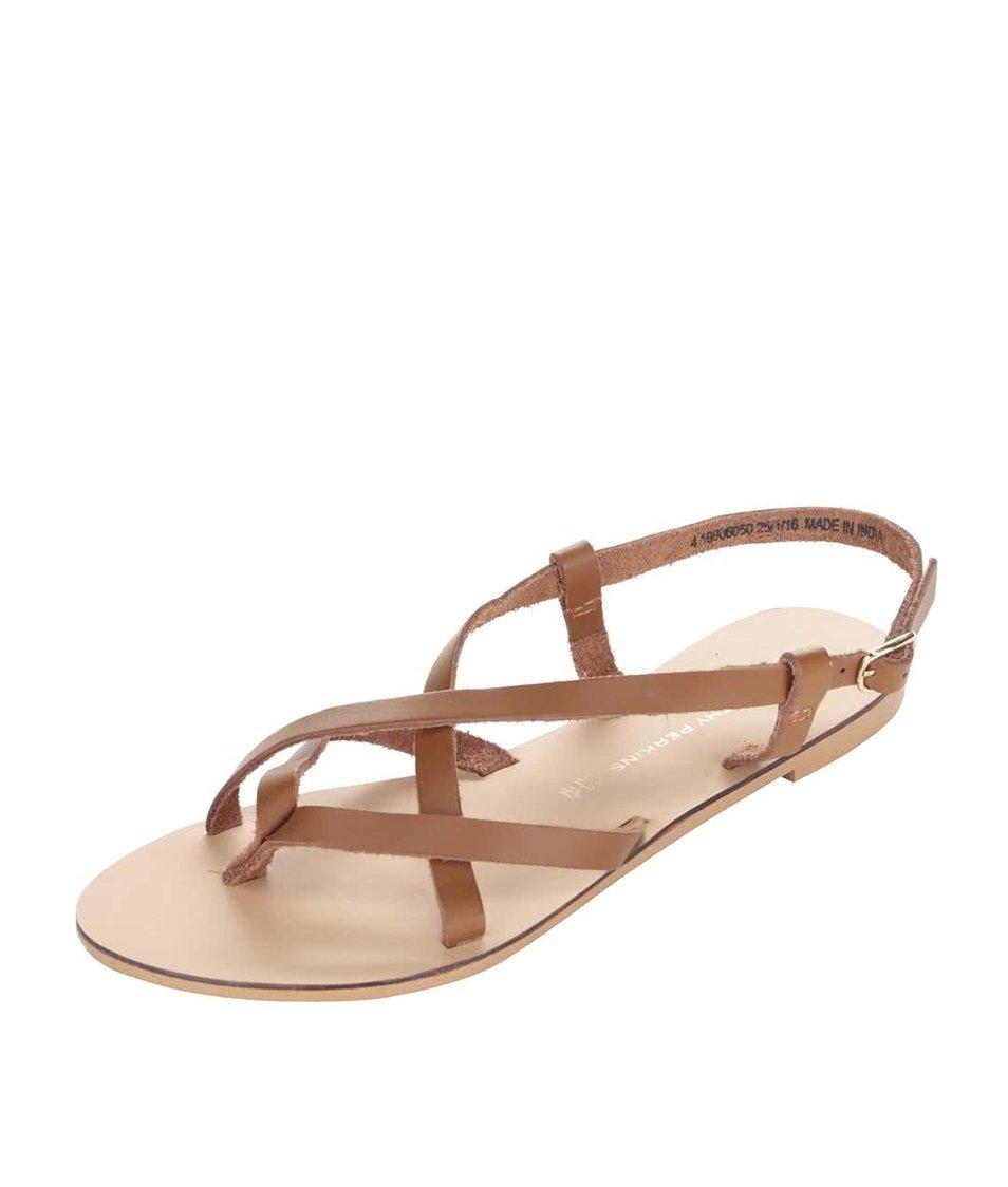 Hnědé kožené páskové sandálky Dorothy Perkins
