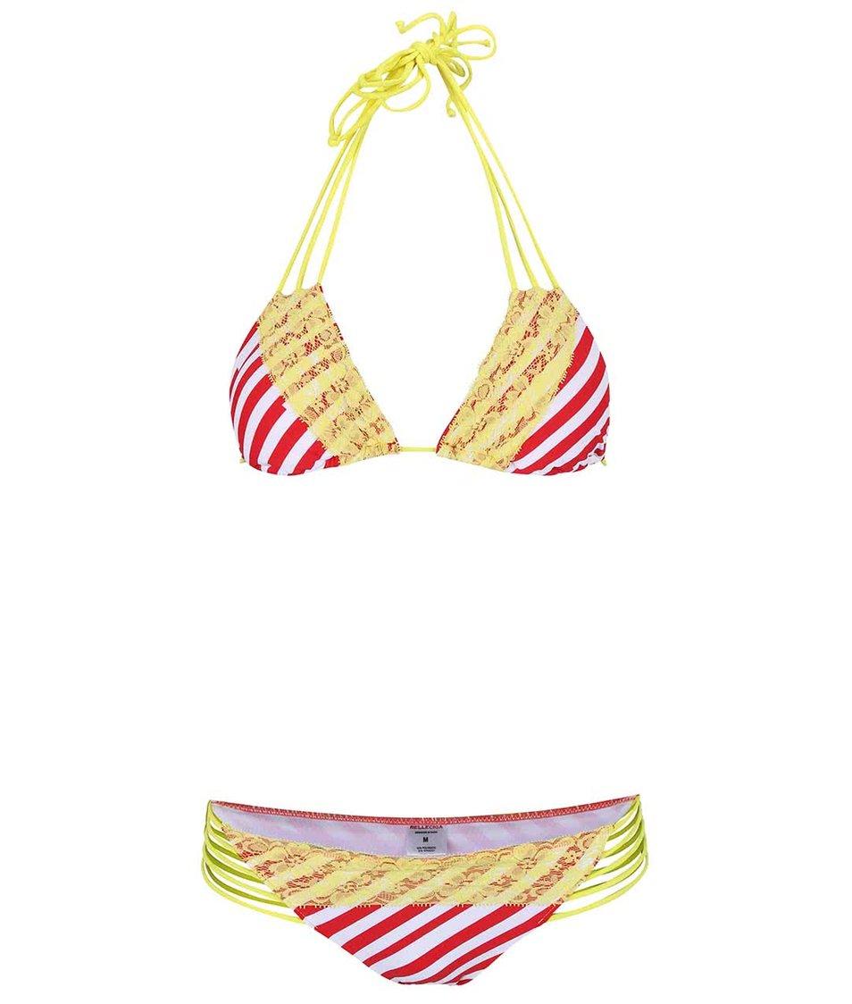 Červeno-žluté dvoudílné plavky s pruhy Relleciga