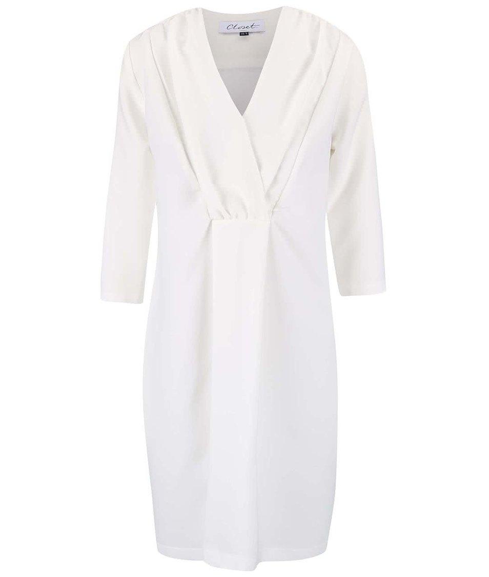 Krémové šaty s tříčtvrtečním rukávem Closet