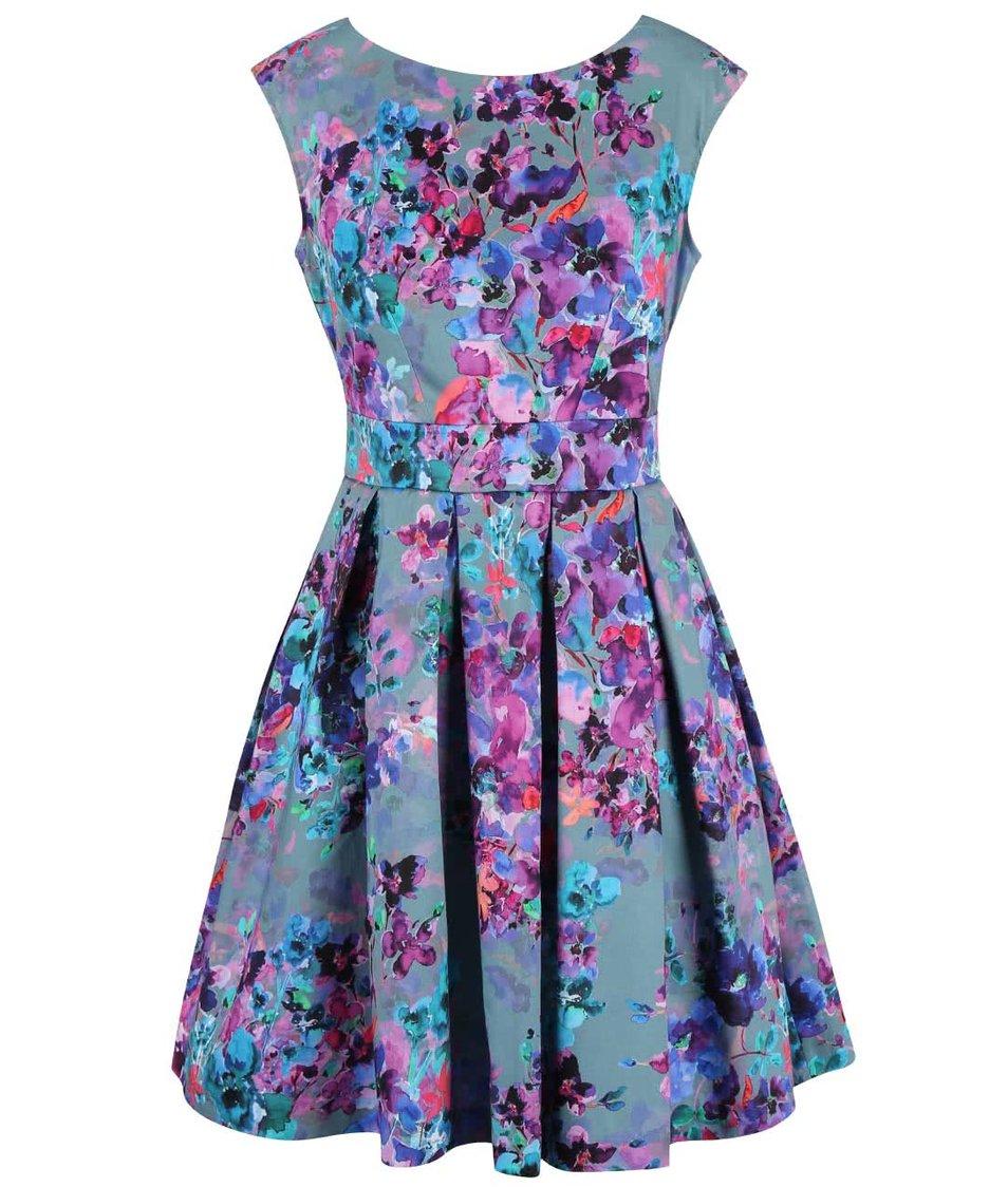 Zelenomodré šaty s květinovým vzorem Closet