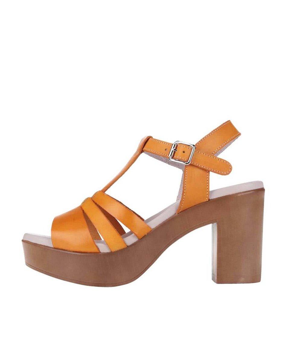 Oranžové kožené sandály na podpatku OJJU