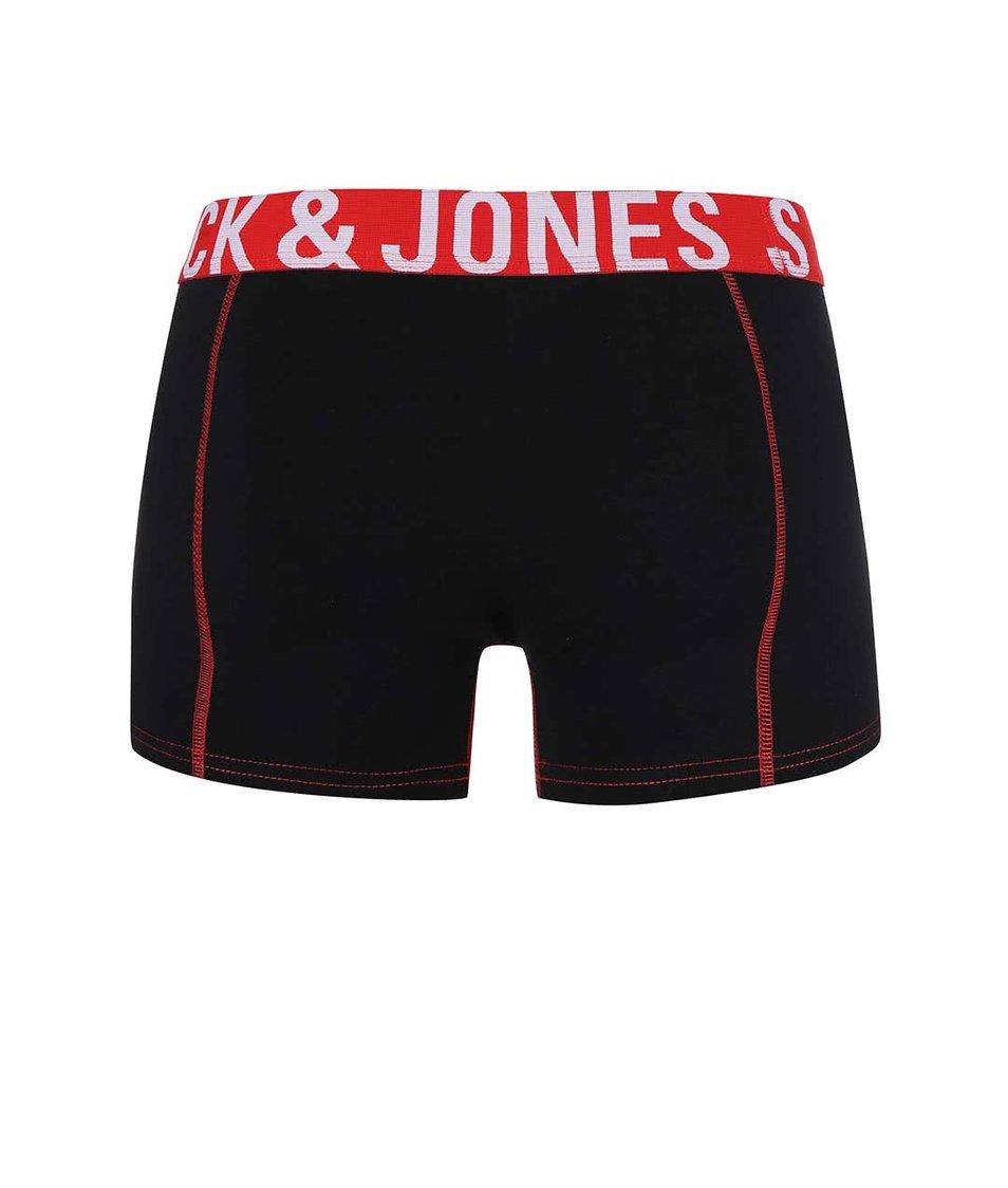 Sada tří červeno-černých boxerek Jack & Jones Paris