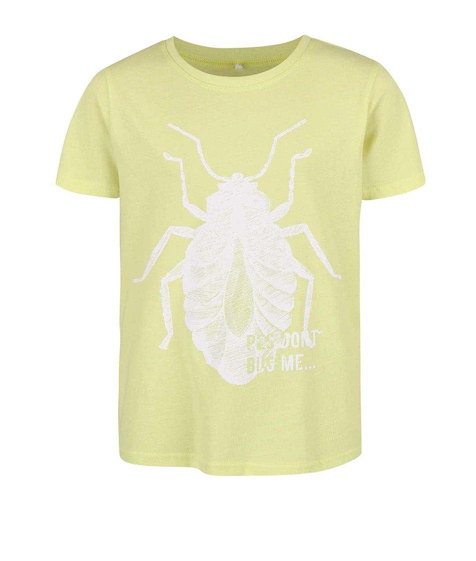 Limetkově žluté klučičí tričko s potiskem brouka name it Victor