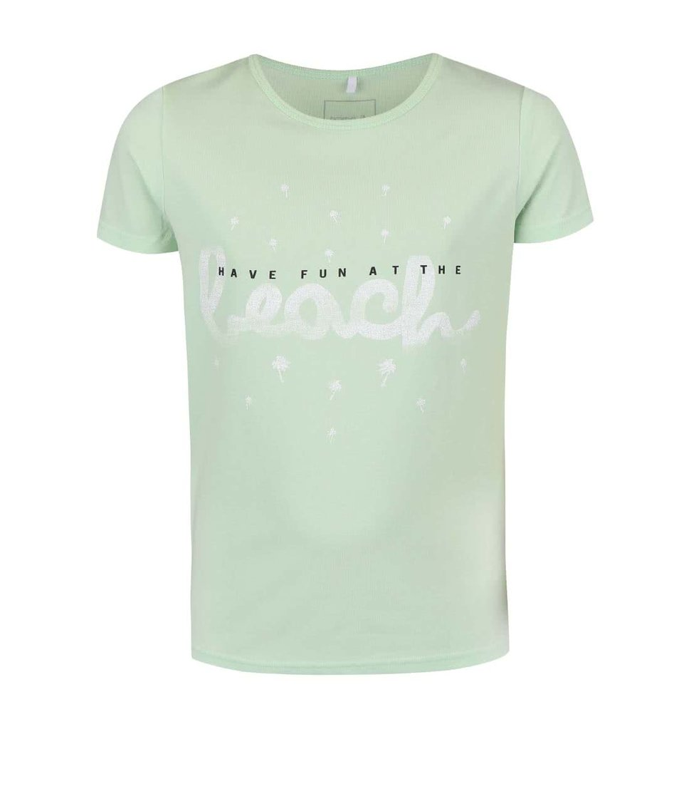 Světle zelené holčičí tričko s potiskem name it Vix