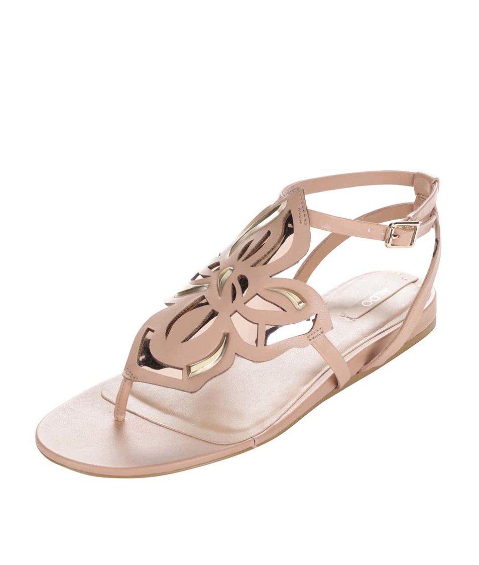 Béžové sandály s květinovým zdobením ALDO Kyara