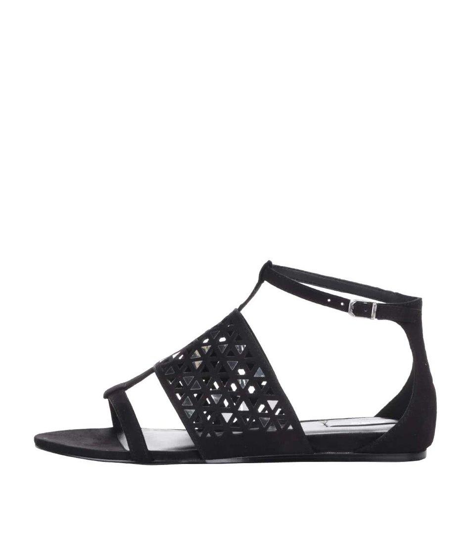Černé sandály se zdobením ve stříbrné barvě ALDO Liliane
