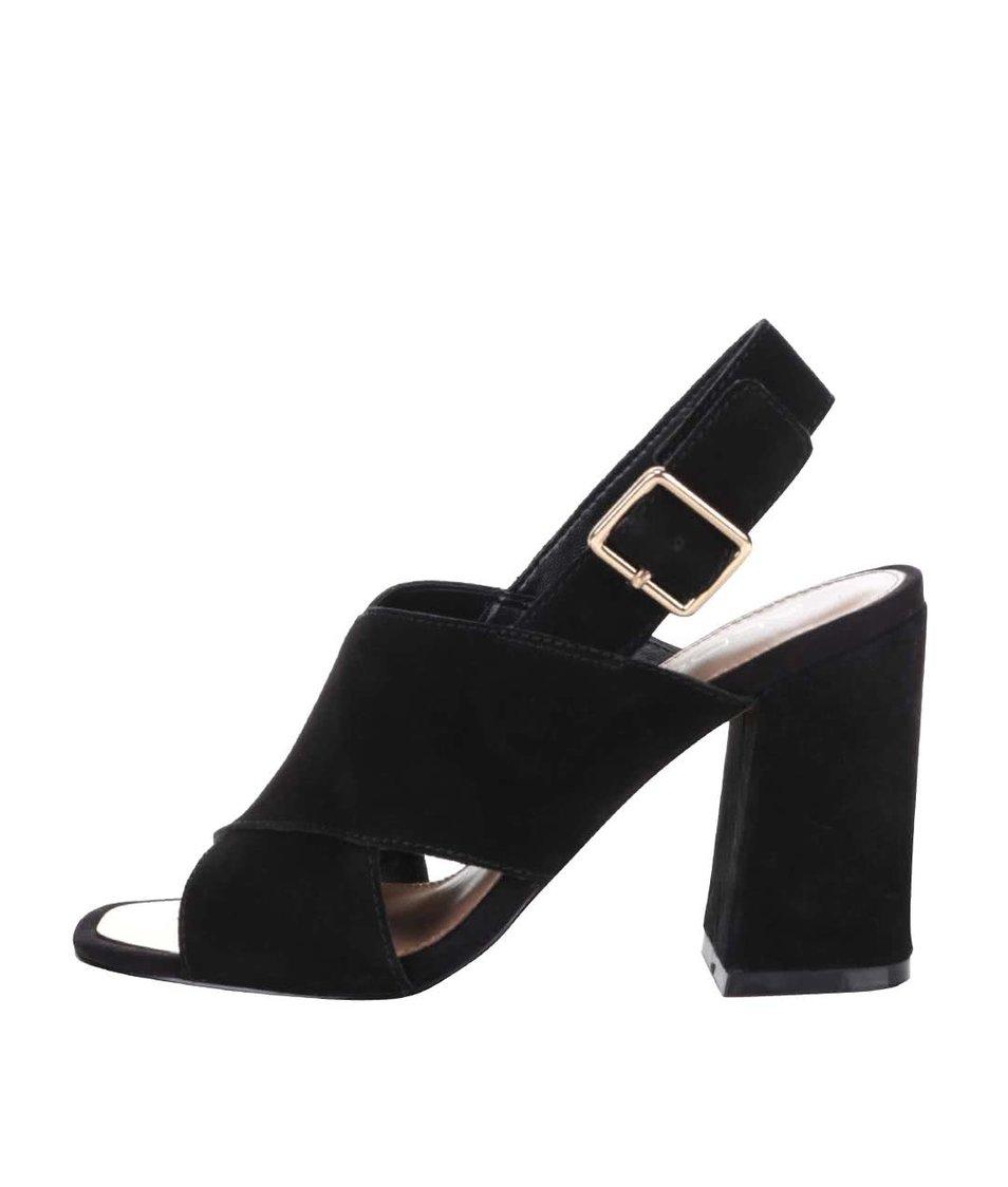 Černé semišové sandály na podpatku s přezkou ve zlaté barvě ALDO Joli