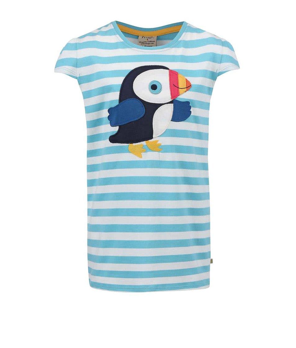Tyrkysové dívčí tričko s ptáčkem Frugi Poldhu