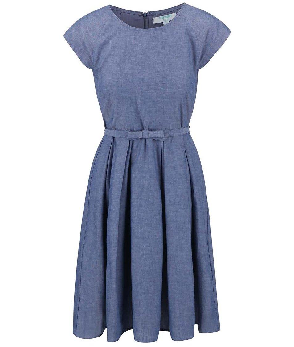Modré šaty s úzkým páskem Fever London Mary