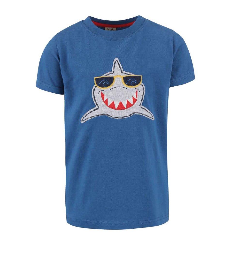 Tmavě modré chlapecké tričko se žralokem Frugi Stanley