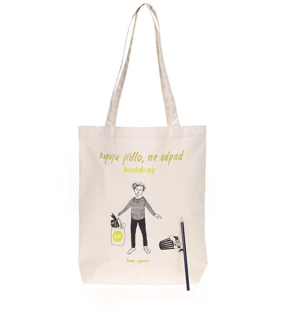 """""""Dobrá"""" plátěná taška s pytlíky Jsem směšný pro Bezobalu"""
