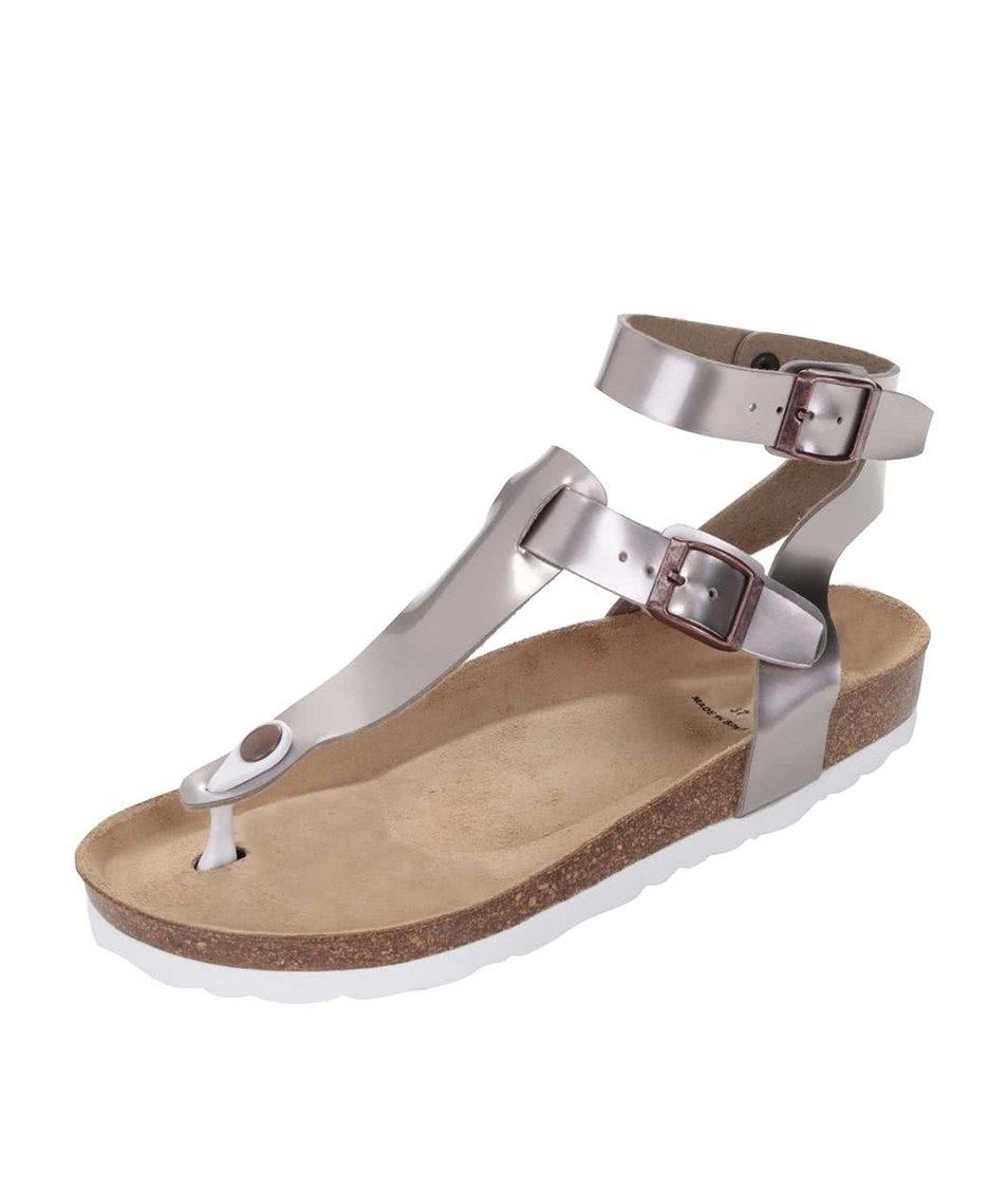 Fialovošedé lesklé dámské sandály OJJU