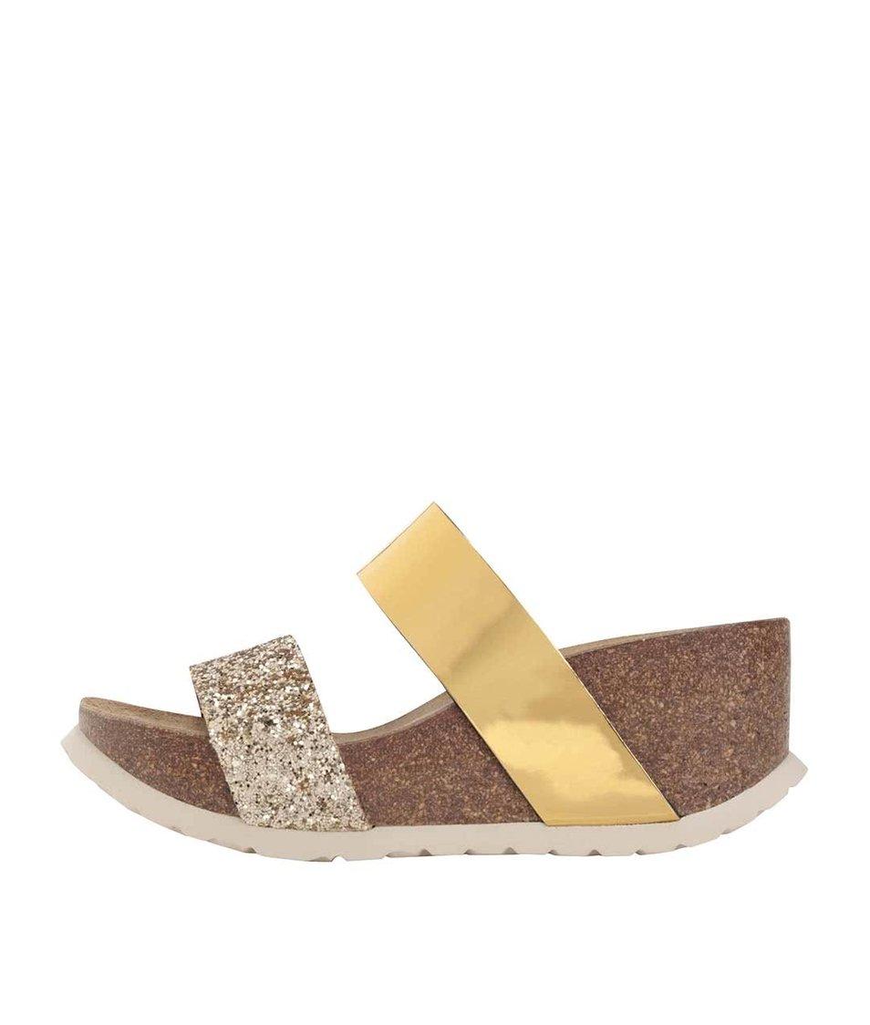 Dámské pantofle s pásky ve zlaté barvě na platformě OJJU