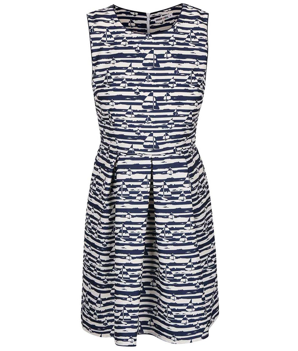 Modré pruhované šaty s plachetnicemi GINGER+SOUL