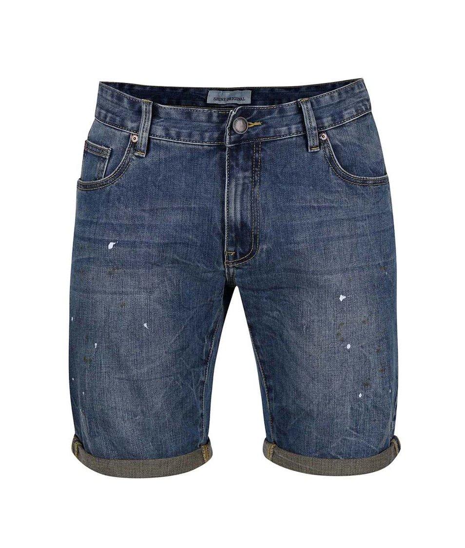 Modré džínové kraťasy s pocákaným efektem Shine Original Wardell