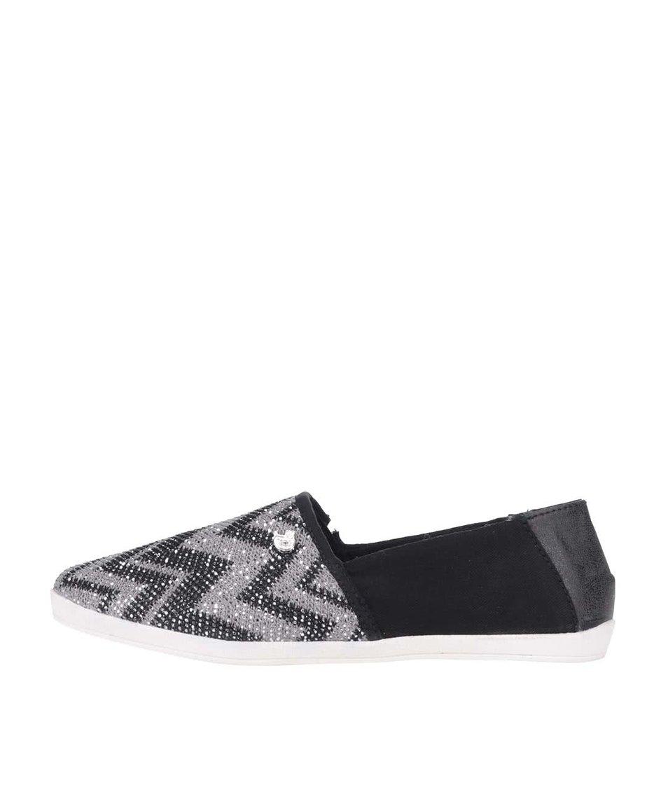 Šedo-černé třpytivé loafers se vzory Tom Tailor
