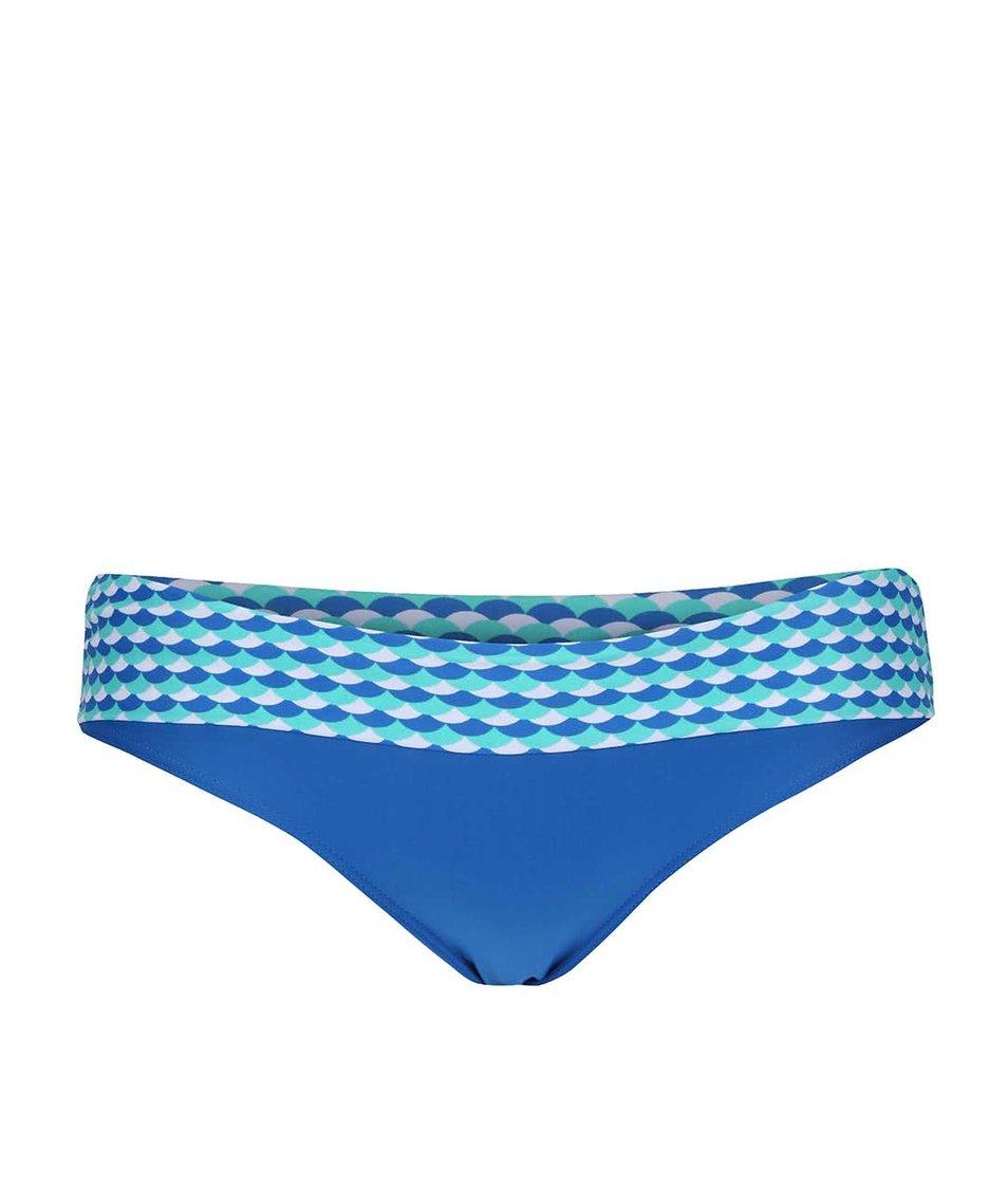 Modrý spodní díl plavek se vzorovaným lemem Curvy Kate Atlantis