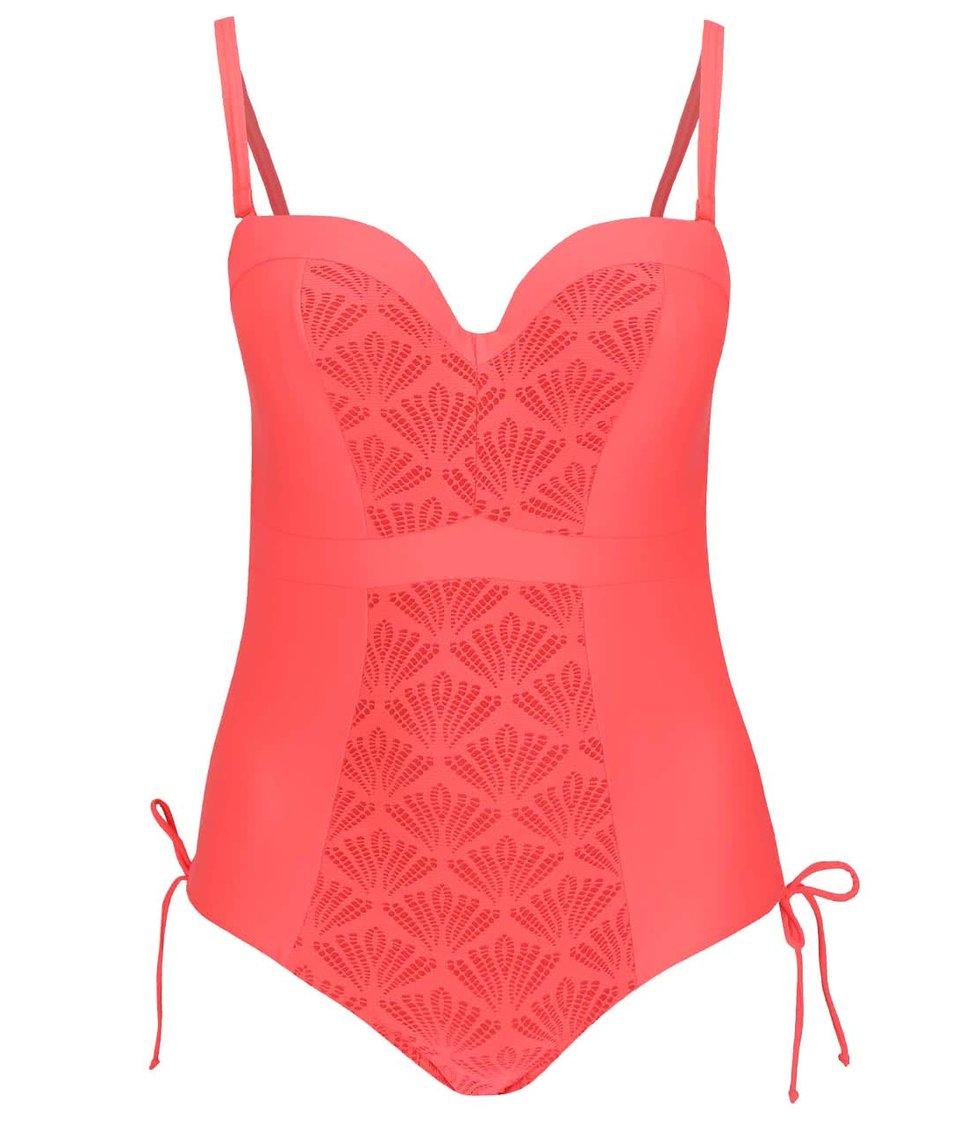 Neonově korálové jednodílné plavky Curvy Kate Siren