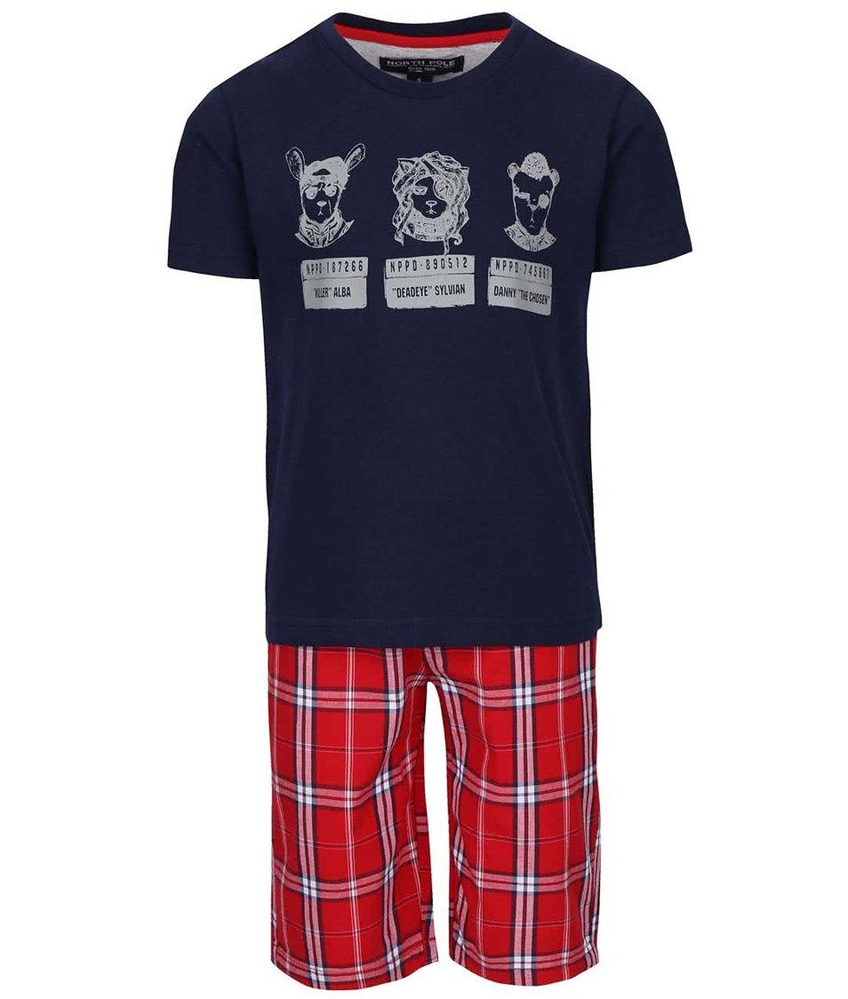 Set klučičích kraťasů a trika v červené a modré barvě North Pole Kids