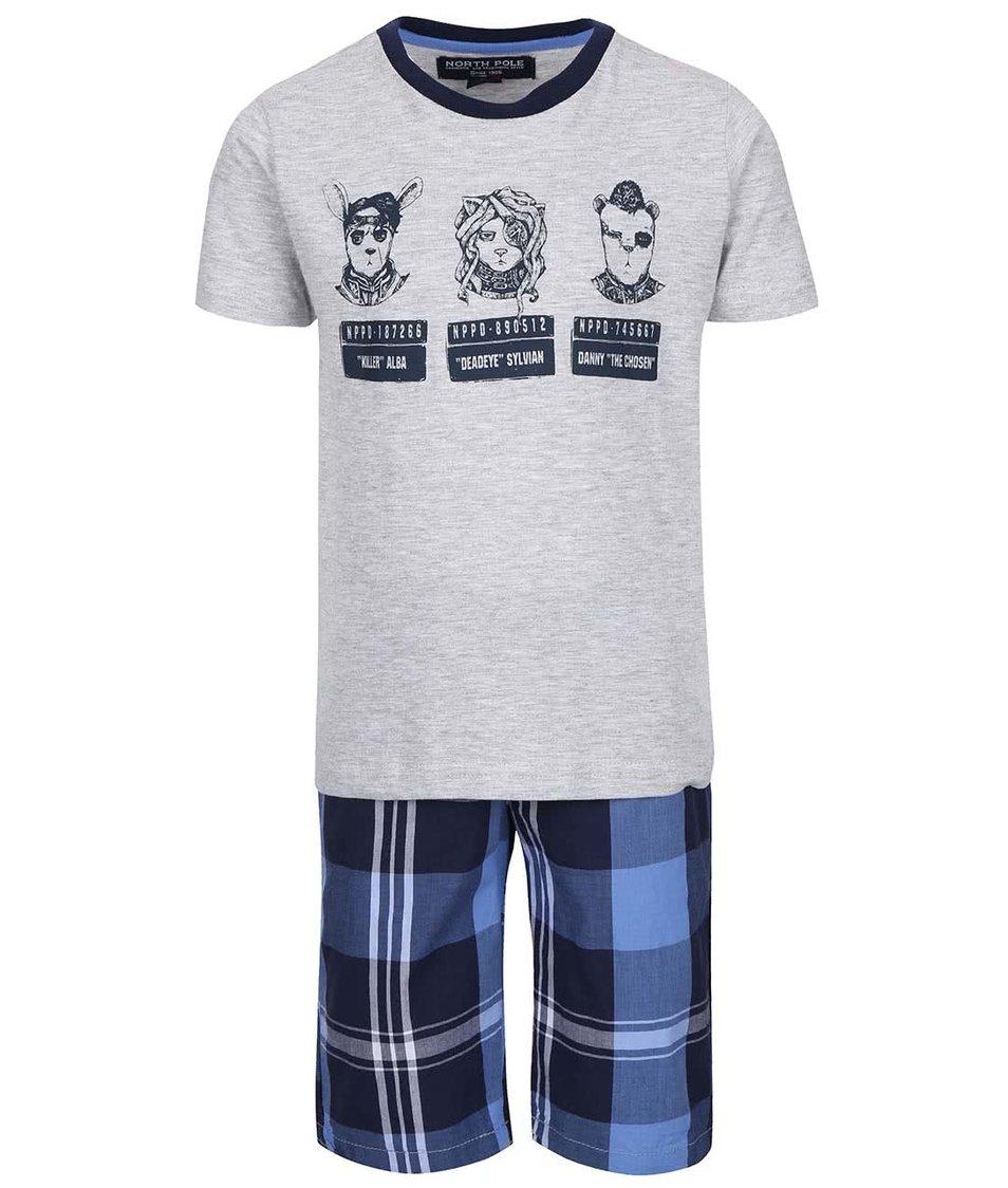 Set klučičích kraťasů a trika v modré a šedé barvě North Pole Kids