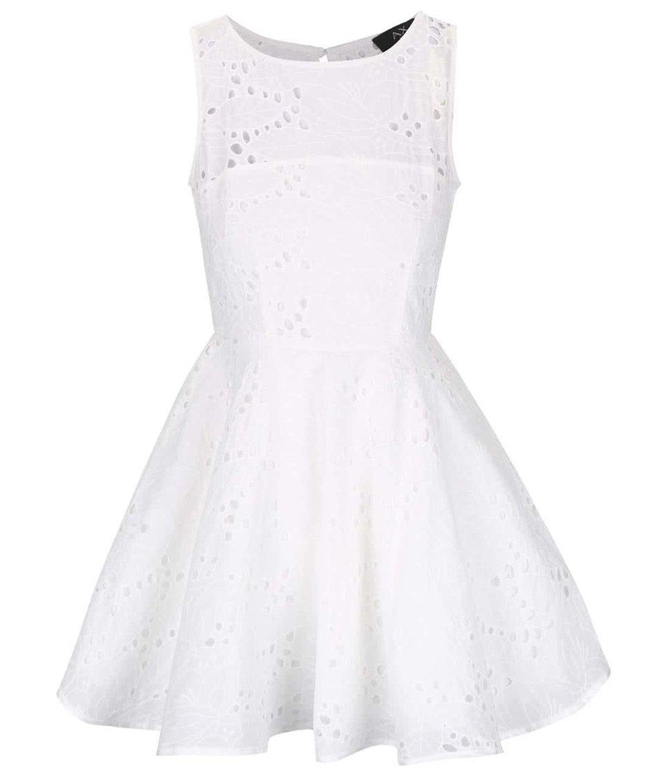 Krémové perforované šaty s tylovou spodničkou AX Paris