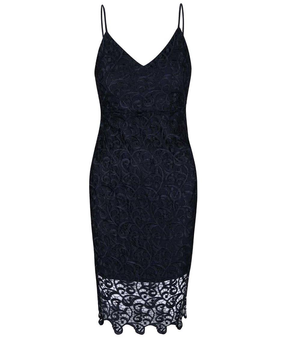 Tmavě modré krajkované šaty na ramínka AX Paris
