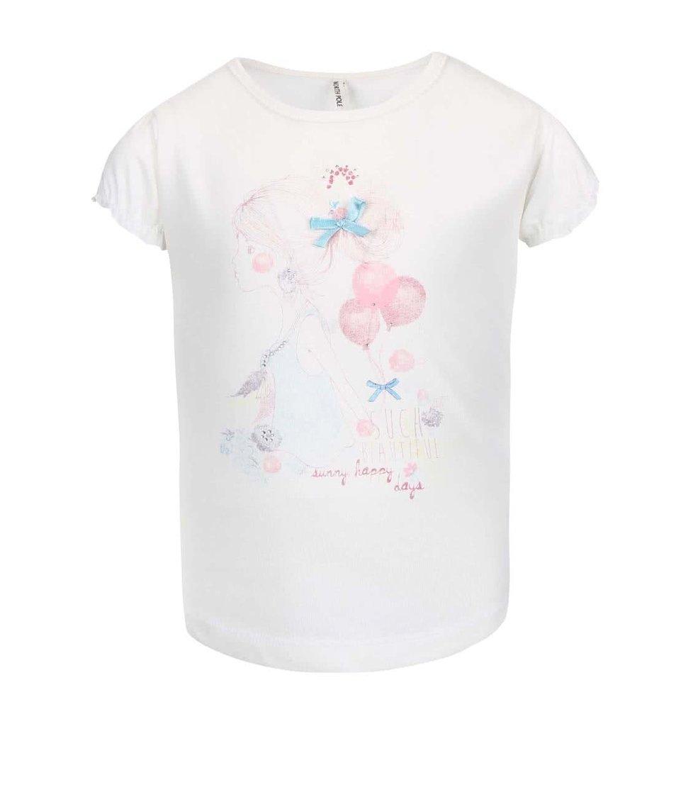 Krémové holčičí tričko s potiskem a stuhou North Pole Kids