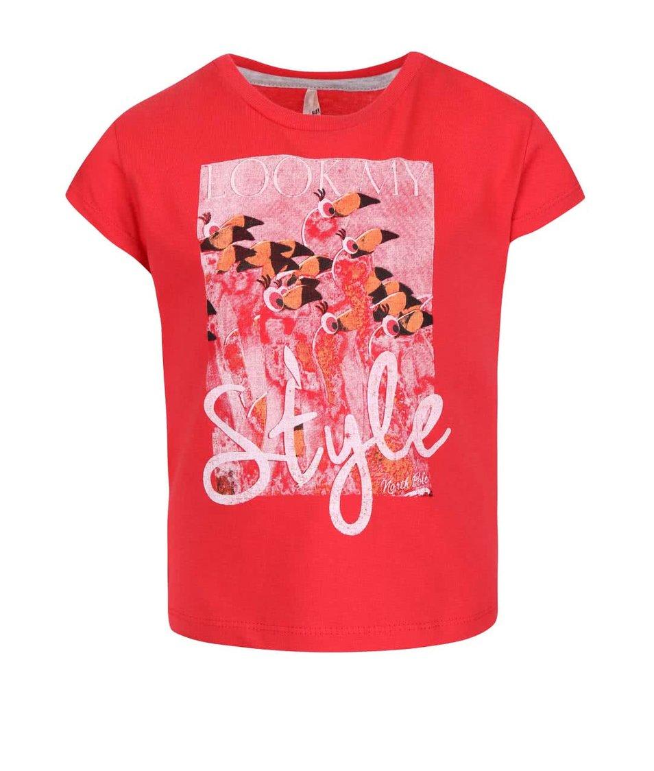 Červené holčičí tričko s potiskem North Pole Kids